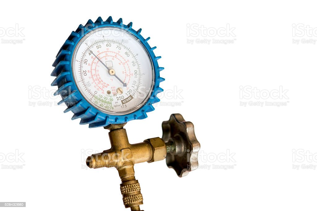 refrigeration low pressure gauge stock photo