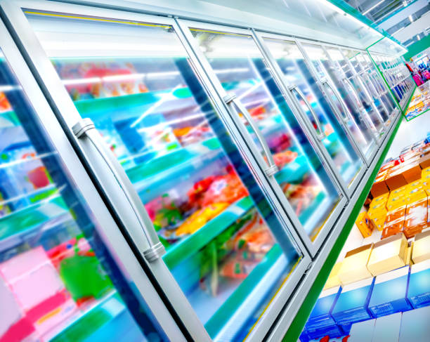 Refrigerator in the supermarket stock photo