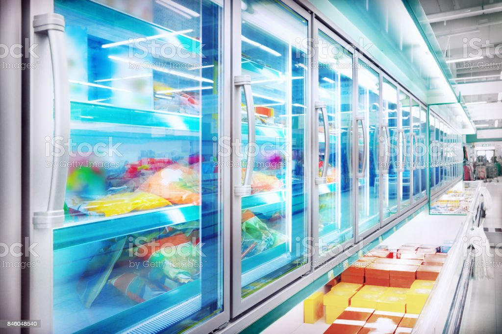 Refrigerator in the supermarket stock photo