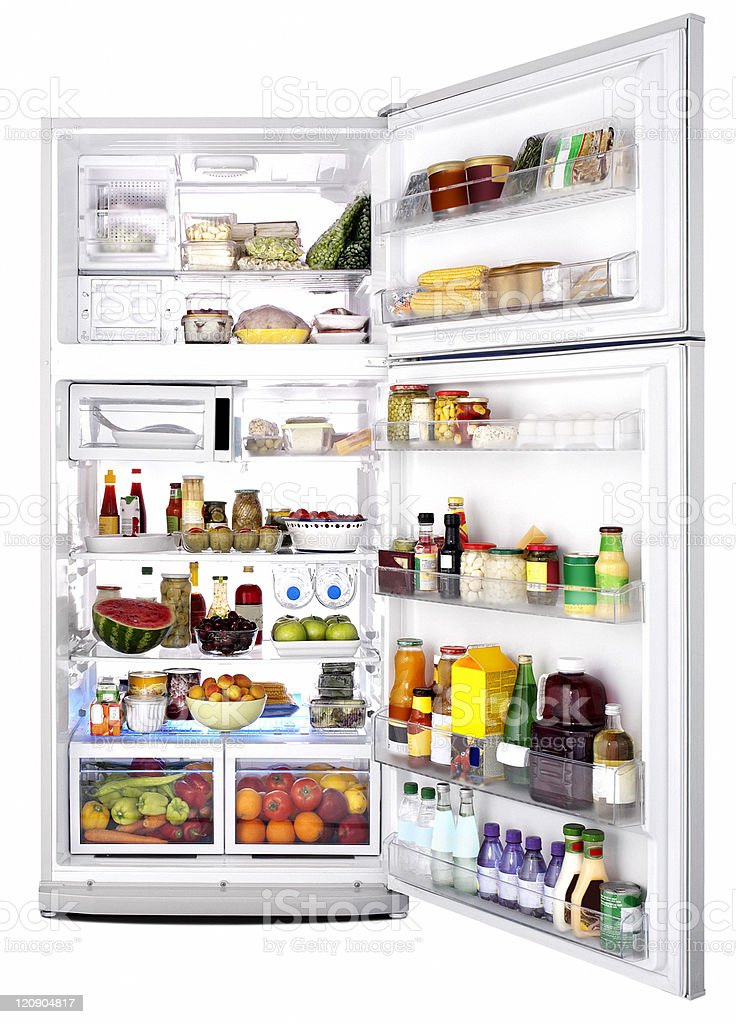 Refrigerator interior stock photo