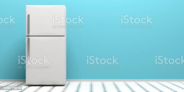 Refrigerator on tiled floor blue wall background copy space 3d picture id1056779410?b=1&k=6&m=1056779410&s=612x612&h=qih andkpxwpztkmqpgw3hy2gvv2jtfp1so gjym70c=