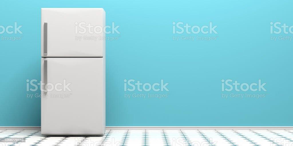 Kühlschrank auf Fliesenboden, blaue Wand Hintergrund kopieren Raum. 3D illustration – Foto