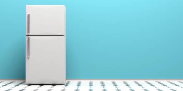kühlschrank auf fliesenboden, blaue wand hintergrund kopieren raum. 3d illustration - geschlossene küchen stock-fotos und bilder