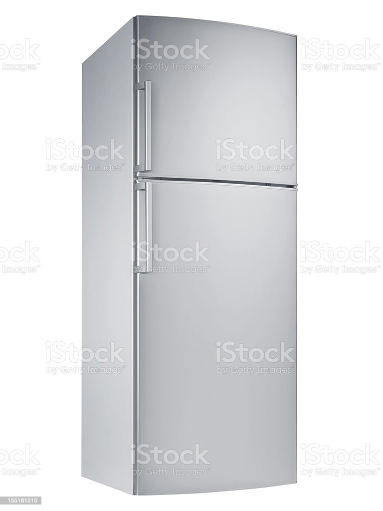 Refrigerator (isolated with clipping path over white background) royalty-free stock photo