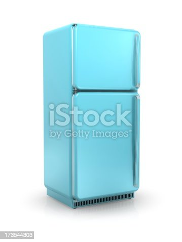Baby blue vintage refrigerator on a white background.Could be a useful image for a food or diet composition.This is a detailed 3d rendering.