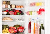 Interior of refrigerator full of food