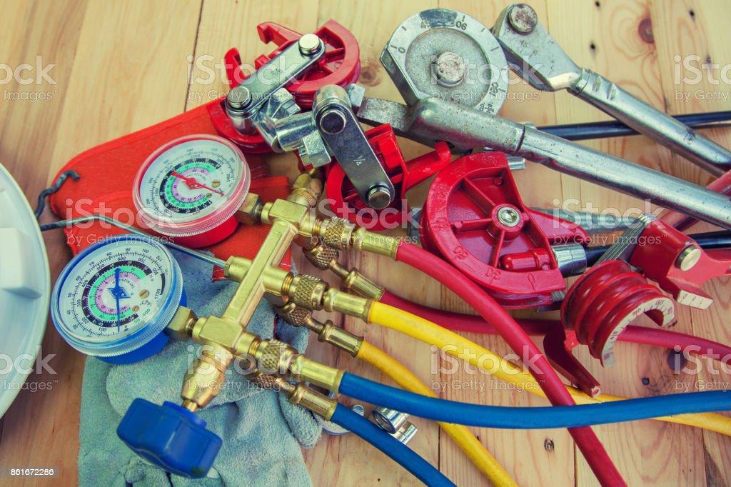 Refrigerator pressure gauges, manometers,quipment Measure of Air Conditioner royalty-free stock photo