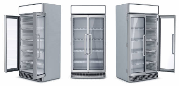 Refrigerator showcase for a supermarket stock photo