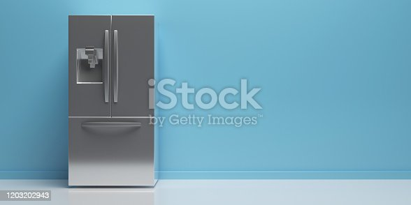 Refrigerator, refrigerate. Home appliance, metal silver side by side fridge on white floor, blue wall background, interior kitchen view, copy space. 3d illustration