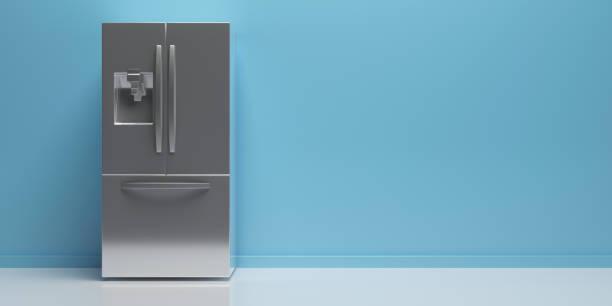 Kühlschrank nebeneinander auf Küchenboden, blauer Wandhintergrund, Kopierraum. 3D-Illustration – Foto