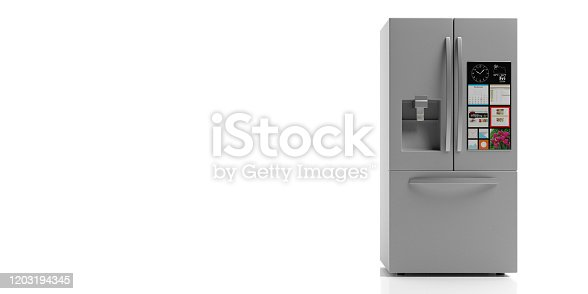 istock Refrigerator side by side on white background. 3d illustration 1203194345