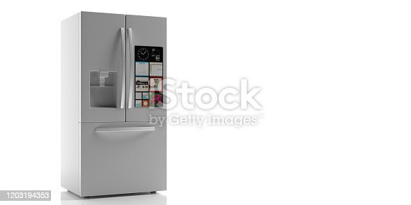 istock Refrigerator side by side on white background. 3d illustration 1203194353