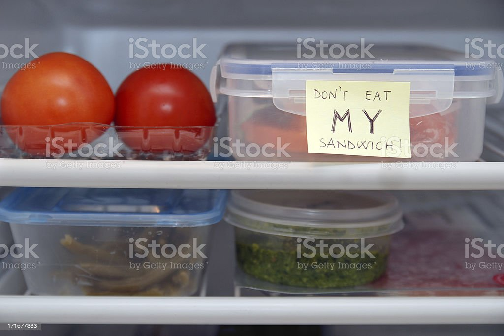 Refrigerator warning stock photo