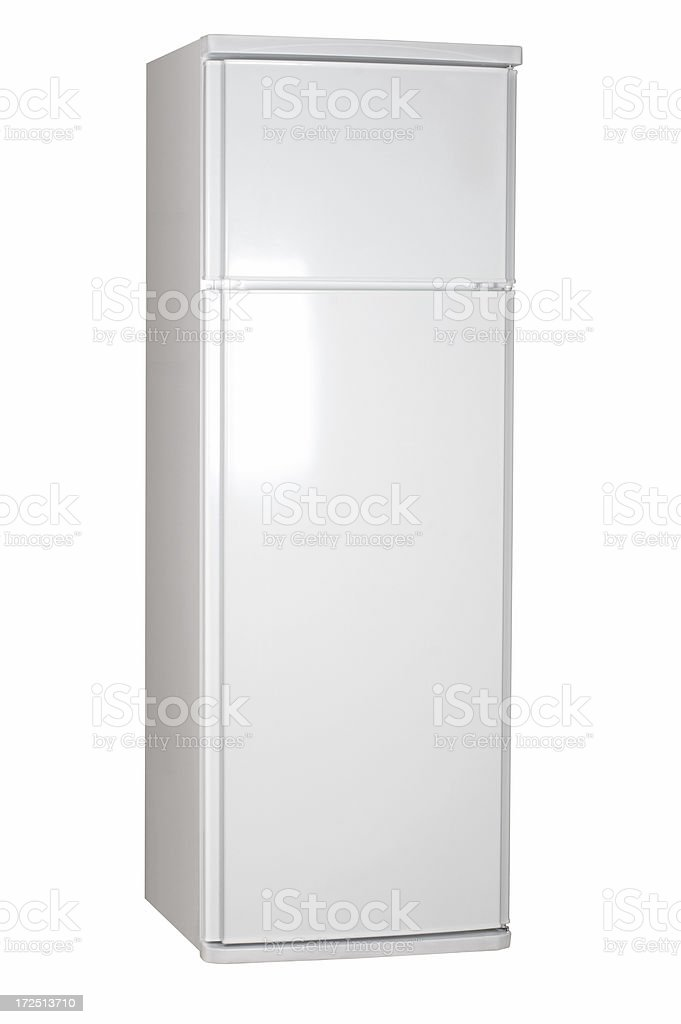 Refrigerator with freezer, isolated on white background royalty-free stock photo