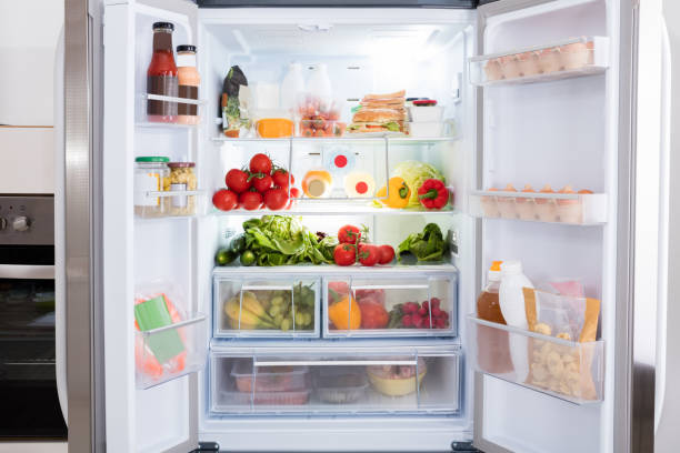refrigerator with fruits and vegetables - open stock photos and pictures