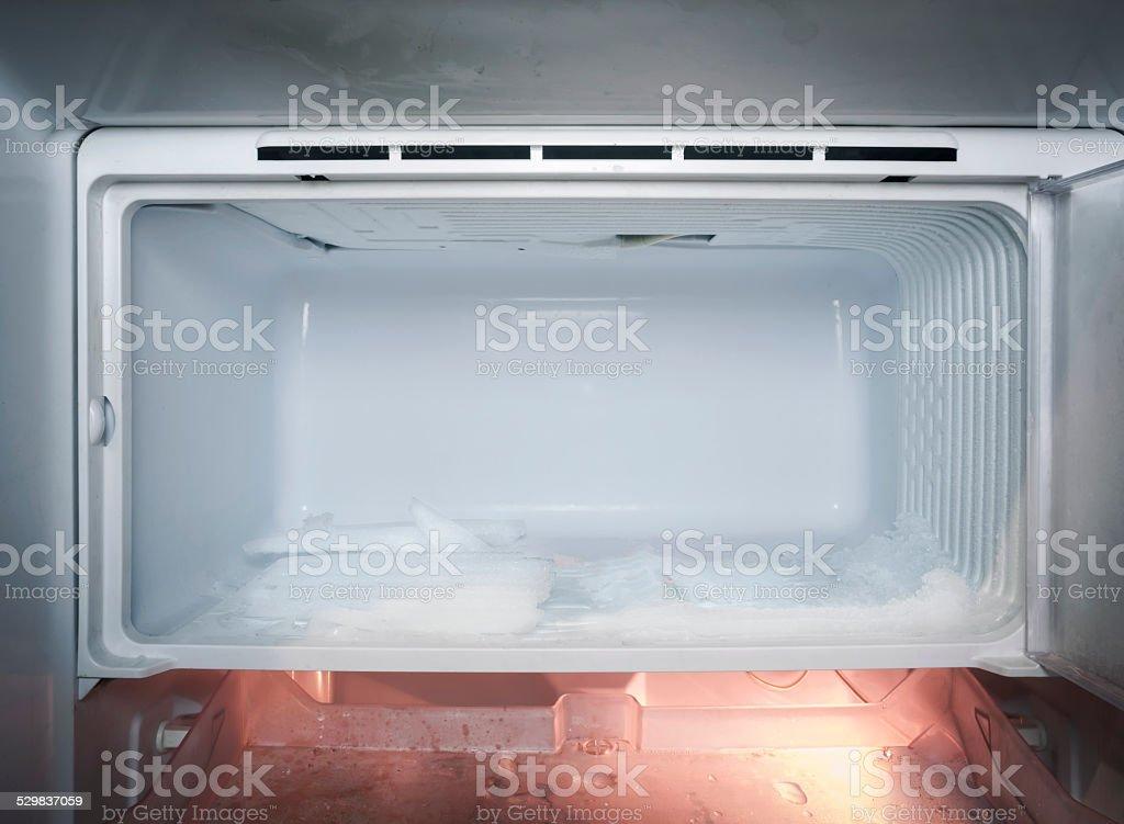 Refrigerator with ice Frozen in fridge stock photo