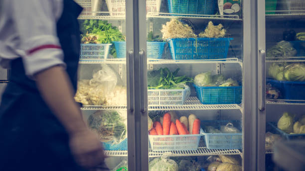 Refrigerator with vegetable stock photo