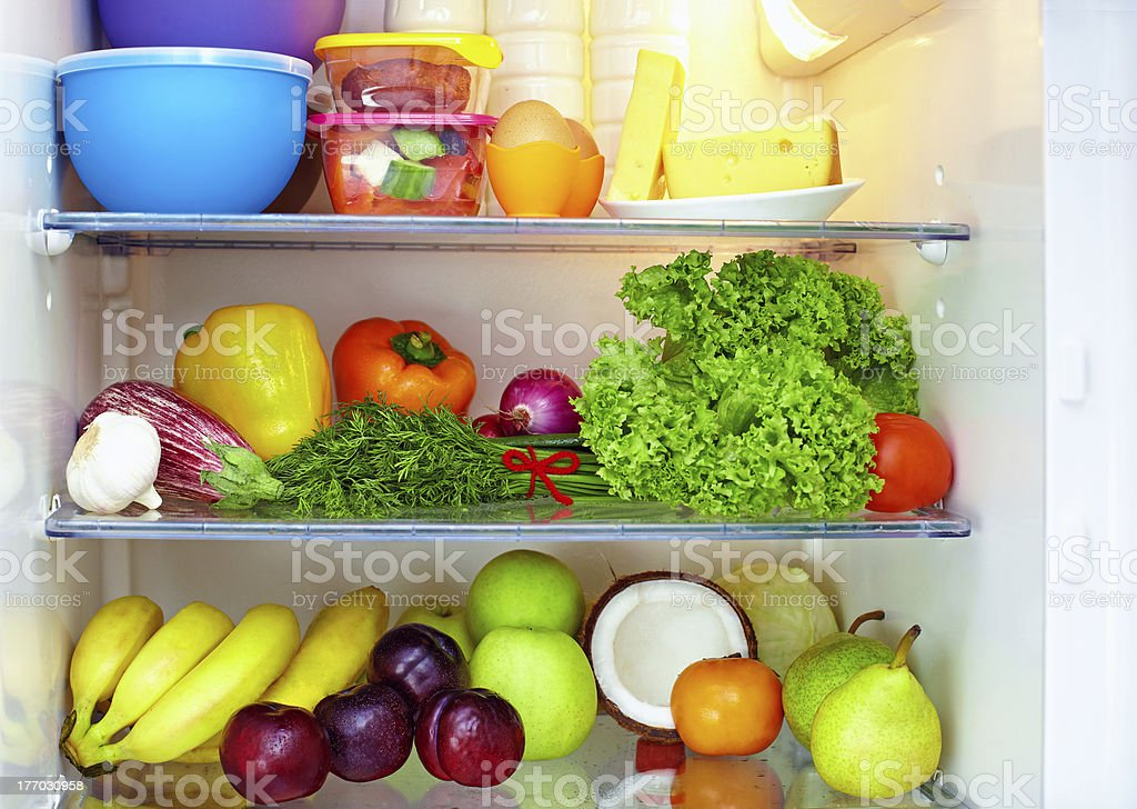 Refrigerators with shelves of fruits and veggies - Royalty-free Apple - Fruit Stock Photo