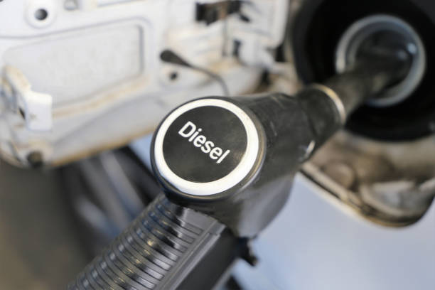 Refuel with diesel stock photo