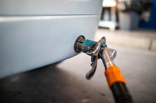 Close up of Refueling a car with LPG gas