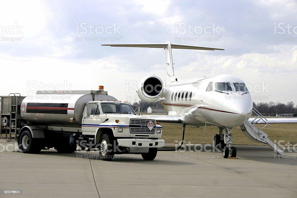 Refueling Corporate Jet royalty-free stock photo
