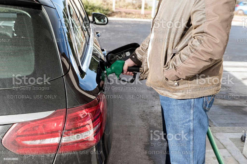 Refuelling the Car stock photo