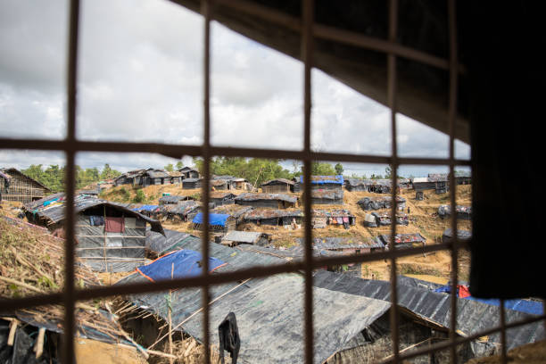 Refugee camp in Bangladesh View from on of the tents in refugee camp i Bangladesh. Rohingya refugees . rohingya culture stock pictures, royalty-free photos & images