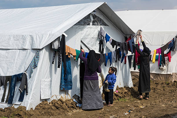 Refugee camp in Greece stock photo