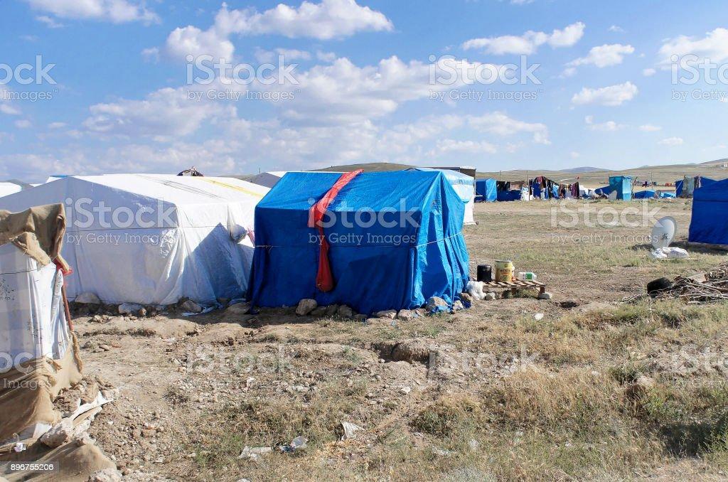 Campo de refugiados, en el centro de Anatolia en Turquía - foto de stock
