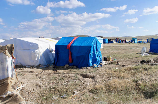 Refugee camp in, nowhere in the centre of Anatolia in Turkey Refugee camps in, nowhere in the centre of Anatolia in Turkey, Syrian refugees muslim quarter stock pictures, royalty-free photos & images
