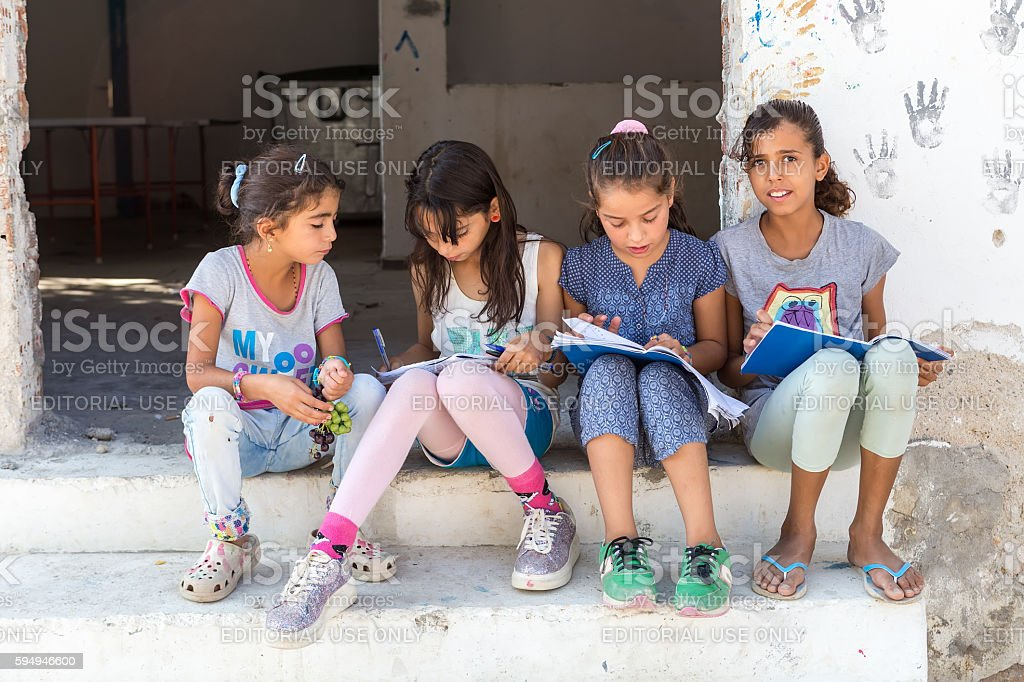 refugee camp of Lagadikia ,Greece stock photo