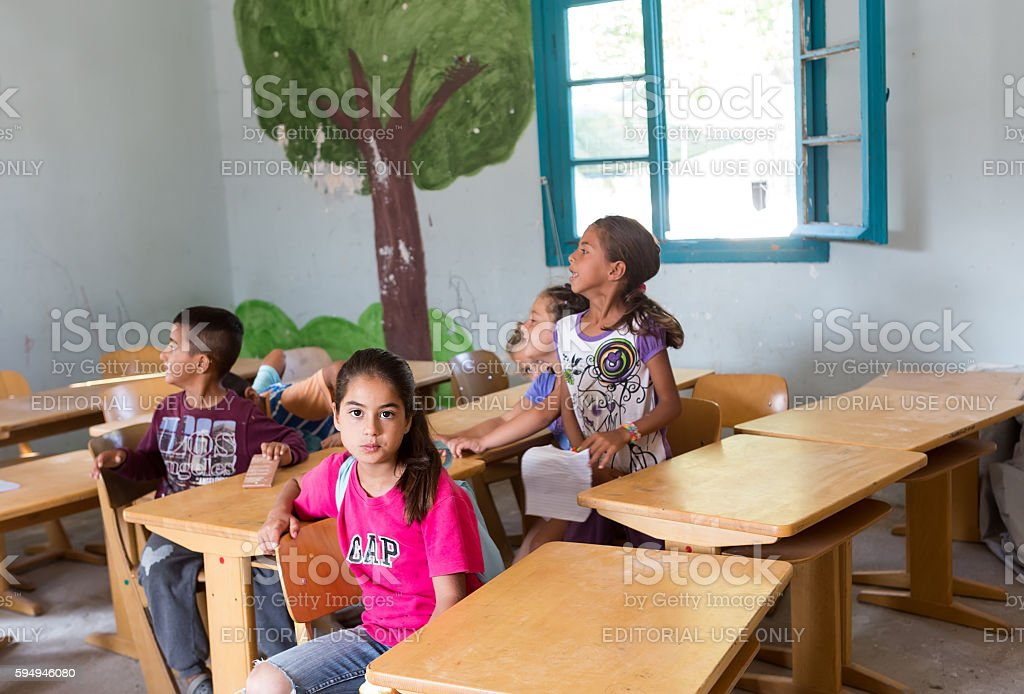 refugee camp of Lagadikia stock photo