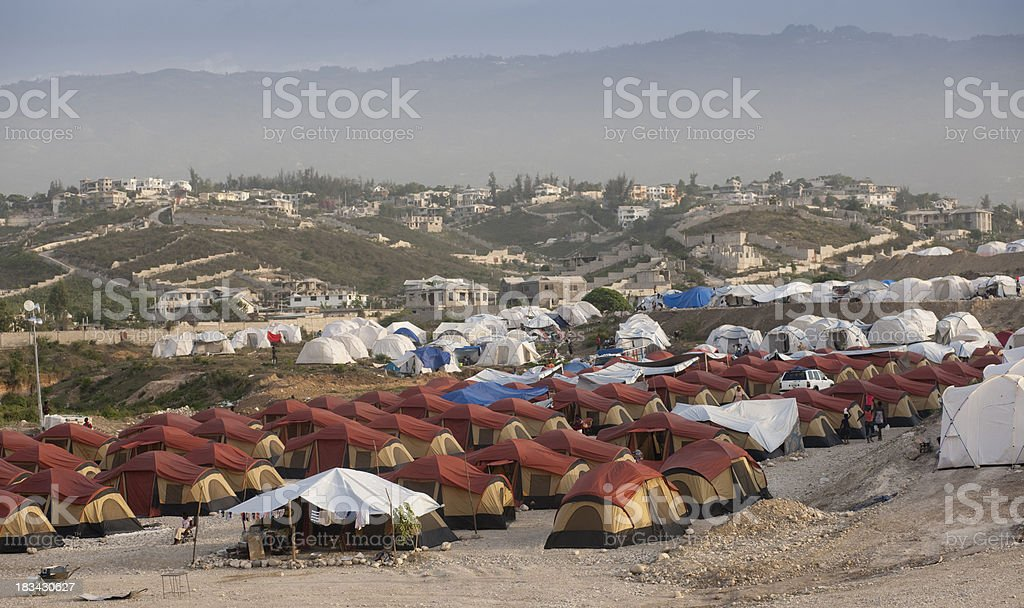 Refugee camp stock photo