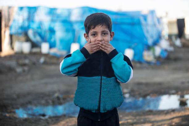 2018 refugee camp syria - See no Evil Hear no Evil Speak no Evil stock photo