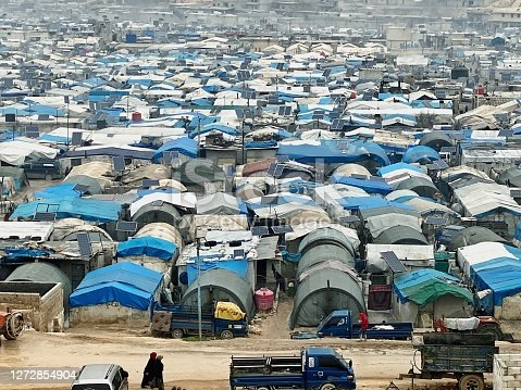 Refugee camps are taking place in Syria's border with Turkey.
