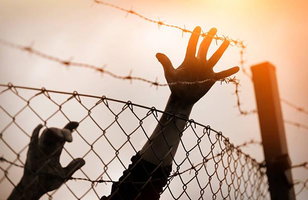 Refugee men and fence. Refugee concept Refugee men and fence. Refugee concept deportation stock pictures, royalty-free photos & images