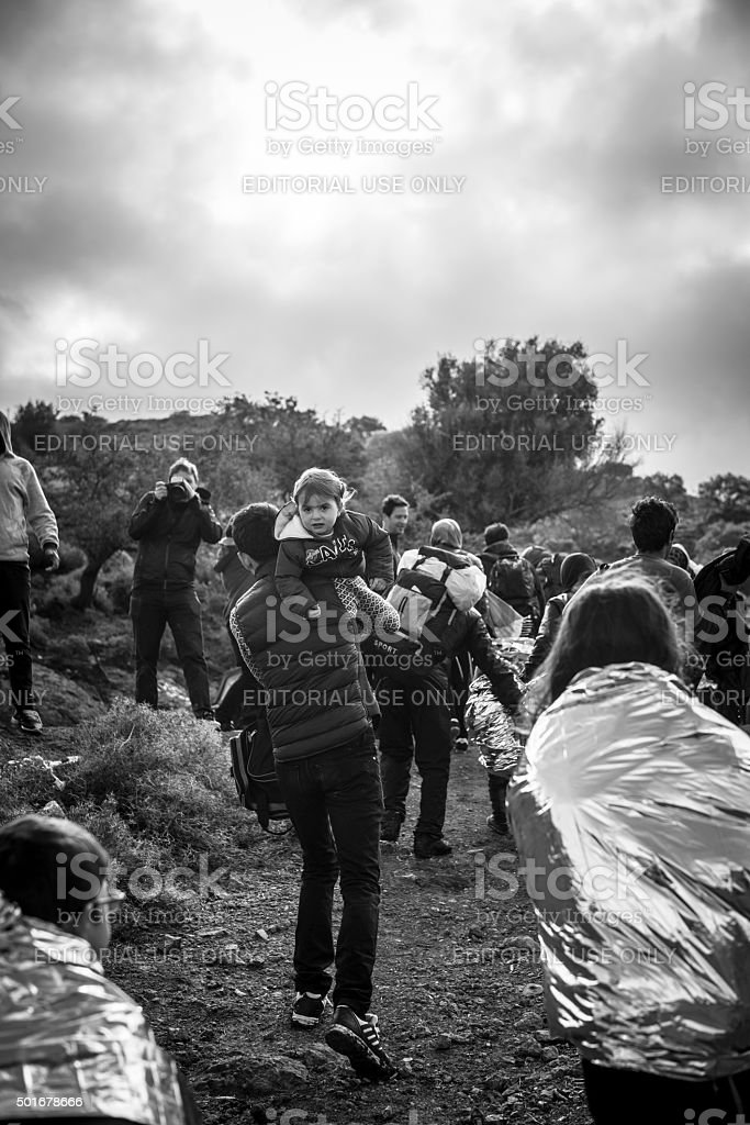Refugees arriving on Lesbos, Greece stock photo