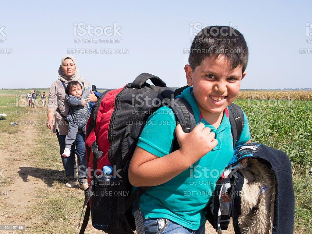 Refugees crossing the border between Sid, Serbia & Tovarnik, Croatia stock photo