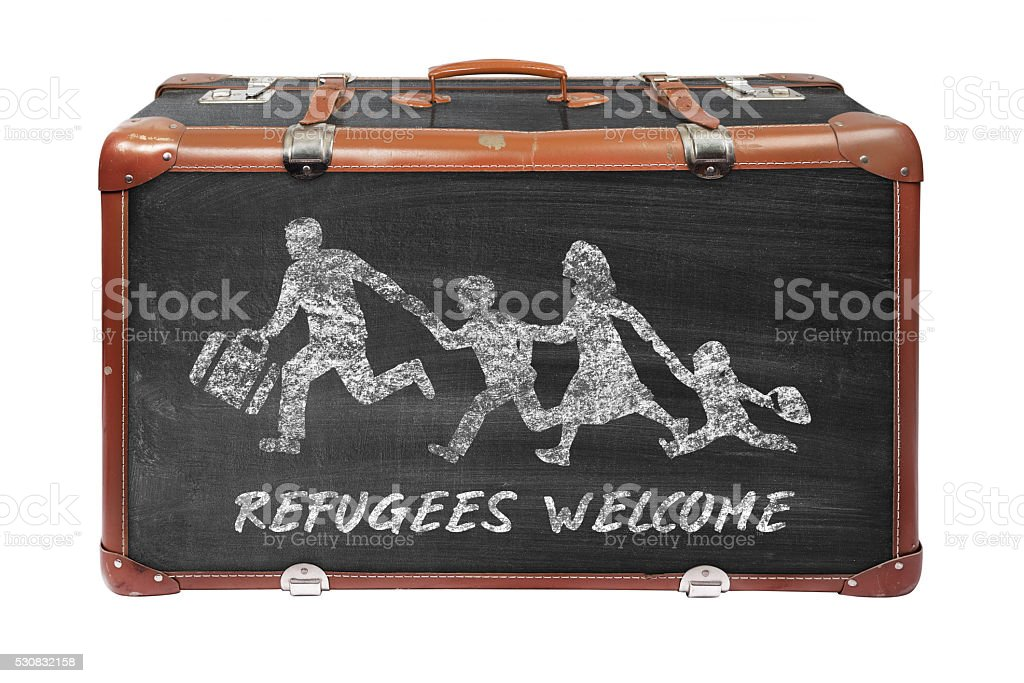 Refugees drawn on a suitcase - concept refugees welcome stock photo