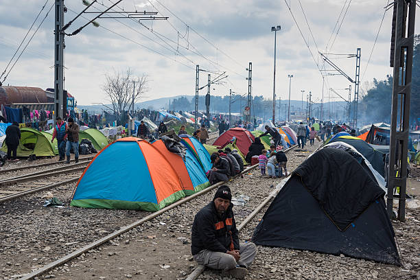 Refugees from Syria in Greece stock photo