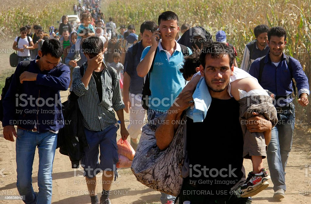 Refugees from Syria stock photo