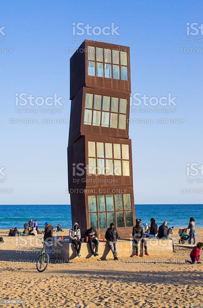Refugees on Barceloneta beach stock photo