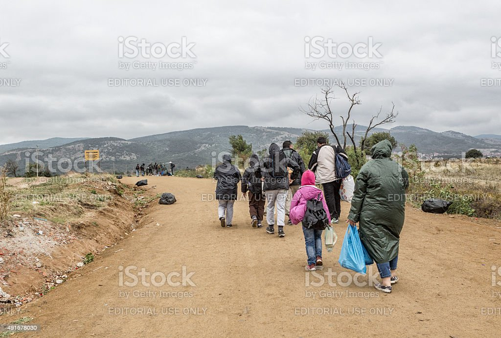 Refugees on the road to European Union stock photo