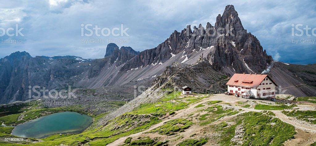 Refugio Locatelli (Dreizinnenhutte) in the Italian Dolomites stock photo