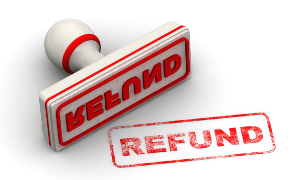 Refund. Seal and imprint The seal with red imprint REFUND on white surface. Isolated. 3D Illustration refund stock pictures, royalty-free photos & images