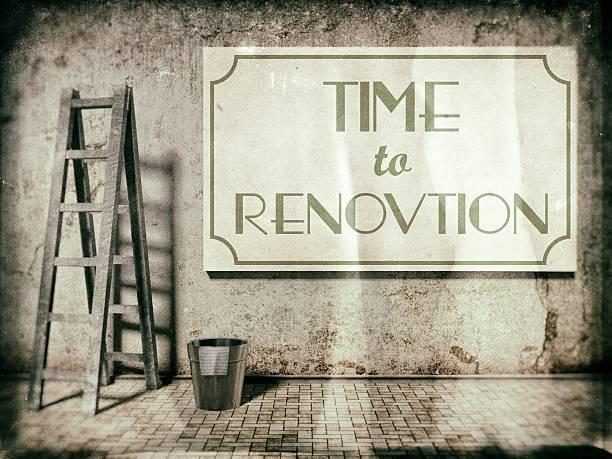 Refurbishment on building wall, Time to renovation stock photo