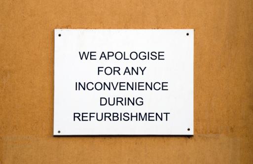 istock Refurbishment sign on wooden background 186188440