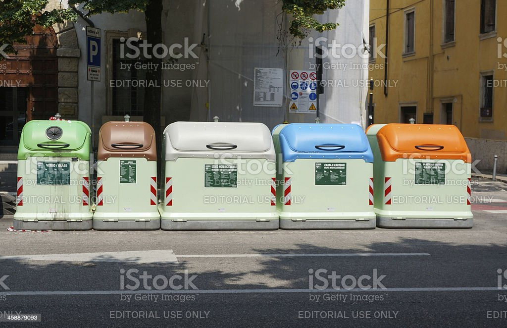 Refuse sorting boxes in a row stock photo