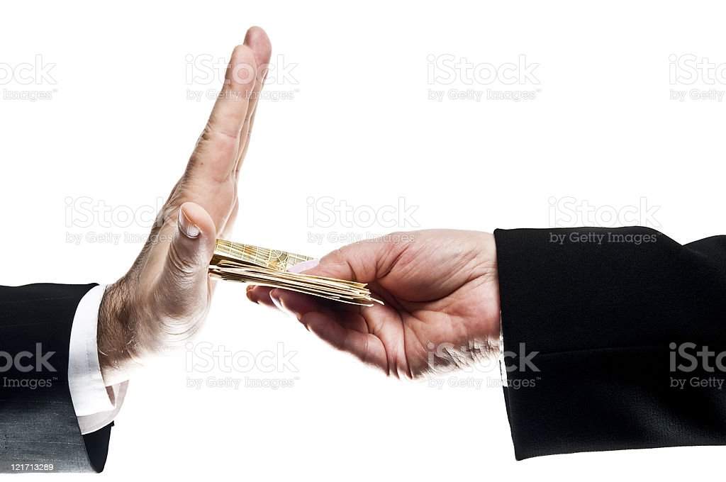 Refusing money stock photo