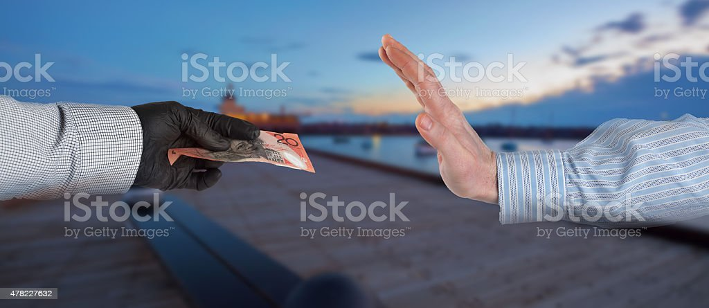 Refusing to accept suspicious money stock photo